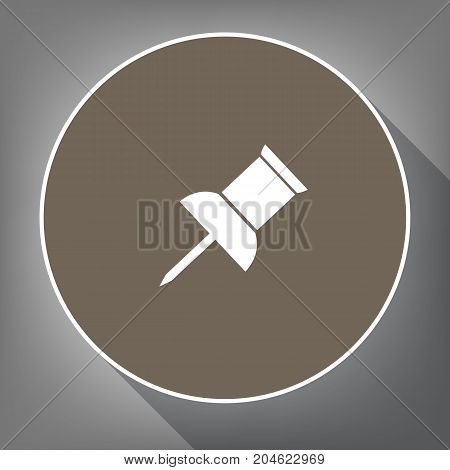 Pin push sign. Vector. White icon on brown circle with white contour and long shadow at gray background. Like top view on postament.