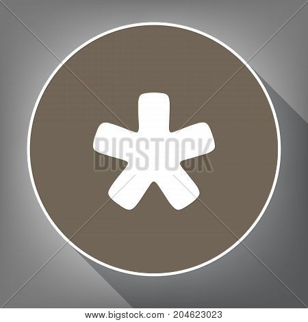 Asterisk star sign. Vector. White icon on brown circle with white contour and long shadow at gray background. Like top view on postament.