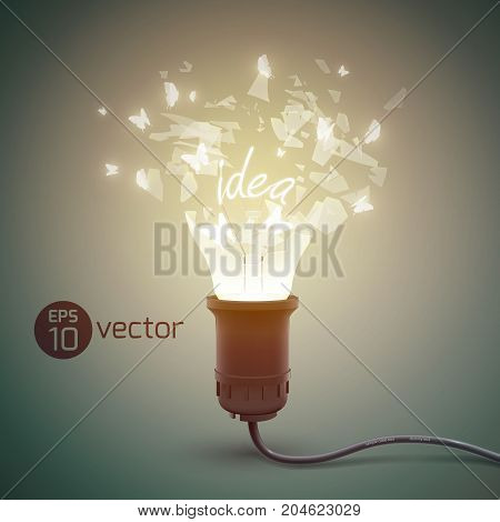 Creative background with splinter light bulb realistic bursting glow lamp with glass shards and electric wire vector illustration
