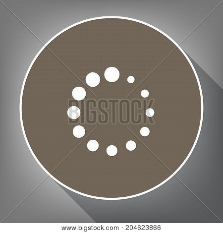 Circular loading sign. Vector. White icon on brown circle with white contour and long shadow at gray background. Like top view on postament.