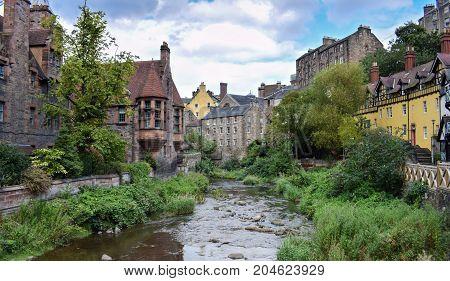 A beautiful landscape at Dean Village, Scotland.