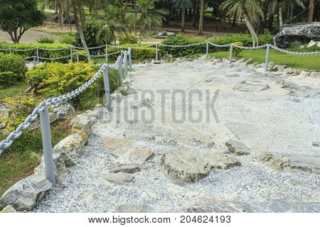 Rock-made path Pavement made of stones in cement