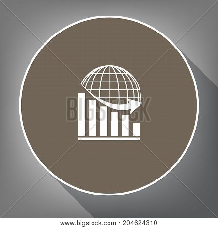 Declining graph with earth. Vector. White icon on brown circle with white contour and long shadow at gray background. Like top view on postament.