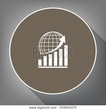 Growing graph with earth. Vector. White icon on brown circle with white contour and long shadow at gray background. Like top view on postament.