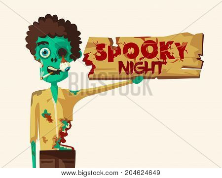 Spooky night. Halloween party. Cartoon vector illustration. Free entry. Funny zombie. Scary monster