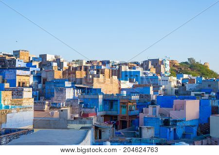 Jodhpur, Rajasthan, India, Famous Travel Destination And Tourist Attraction. The Blue City Viewed Fr