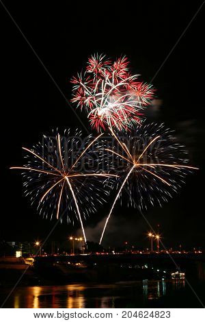 firework on a bridge - Stock Image