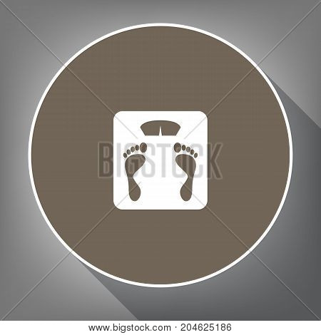 Bathroom scale sign. Vector. White icon on brown circle with white contour and long shadow at gray background. Like top view on postament.