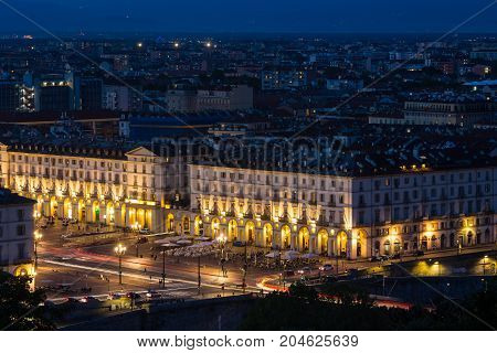 Cityscape Of Torino (turin, Italy) At Night With Details Of Large Square (piazza Vittorio Veneto), S