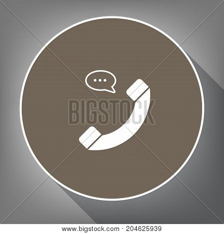 Phone with speech bubble sign. Vector. White icon on brown circle with white contour and long shadow at gray background. Like top view on postament.