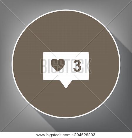 Like and comment sign. Vector. White icon on brown circle with white contour and long shadow at gray background. Like top view on postament.