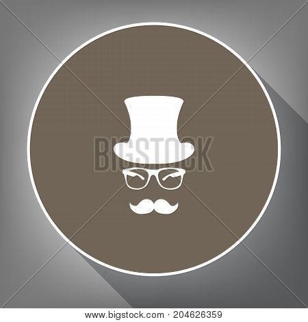 Hipster accessories design. Vector. White icon on brown circle with white contour and long shadow at gray background. Like top view on postament.