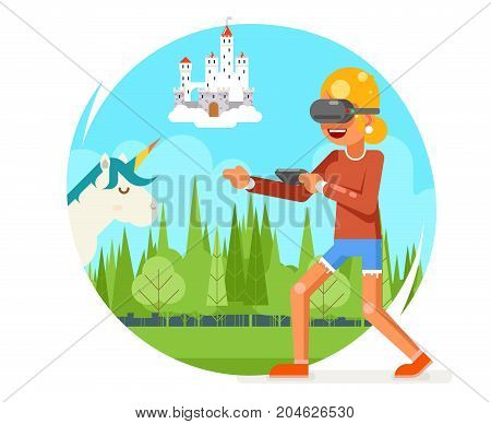 Fantasy Land VR Virtual Reality Glasses Young Female Girl Playing Game Cartoon Character Flat Visual Design 3d Digital Experience Vector Illustration