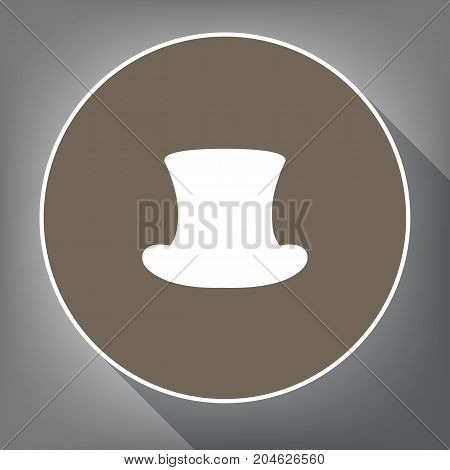 Top hat sign. Vector. White icon on brown circle with white contour and long shadow at gray background. Like top view on postament.