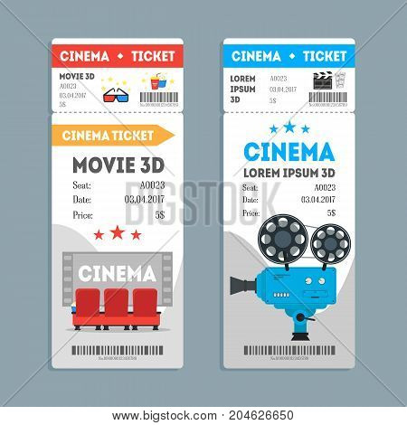 Cartoon Cinema Tickets Vertical Set on a Gray Background Flat Design Style Movie Admit. Vector illustration