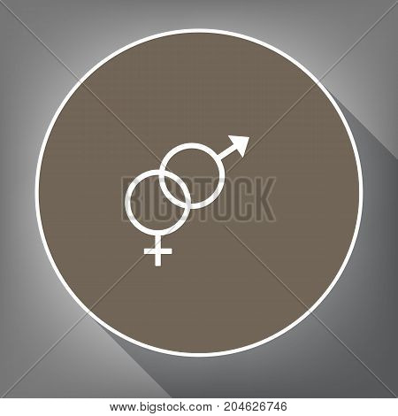 Sex symbol sign. Vector. White icon on brown circle with white contour and long shadow at gray background. Like top view on postament.