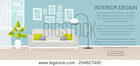 Modern interior of the living room. Vector banner with place for text. Design of a cozy room with sofa floor lamp window and decor accessories.