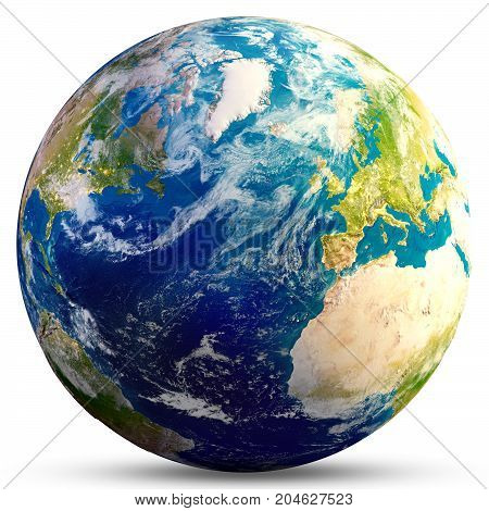 Planet Earth - Atlantic. Elements of this image furnished by NASA. 3d rendering