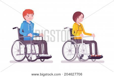 Male and female young wheelchair user. Poor quality of life and health. Society and disabled people community concept. Vector flat style cartoon illustration, isolated, white background