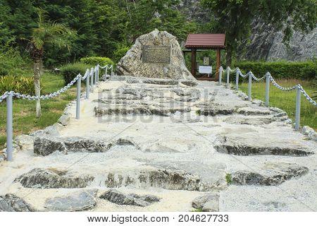 PATTAYACHONBURI THAILAND - JUNE 25 2017 :Inscription on the history of Wat Khao Chi Chan Pattaya Chonburi Thailand