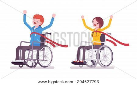 Male, female young wheelchair user crossing red finish line. Happy winner, successful champion. Society, disabled people community. Vector flat style cartoon illustration, isolated, white background