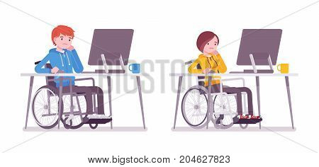 Male and female young wheelchair user working with computer. Employment and job support. Society and disabled people concept. Vector flat style cartoon illustration, isolated, white background