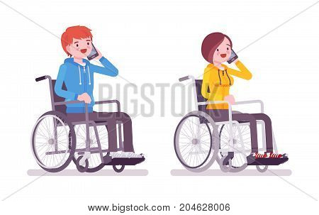 Male and female young wheelchair user phonetalking. Employment, communication and promotion. Society and disabled people concept. Vector flat style cartoon illustration, isolated, white background