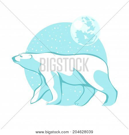 Vector illustration of a silhouette of a polar bear against the blue sky of falling snow and the moon