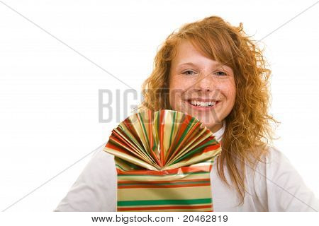 Woman Smiling With Gift