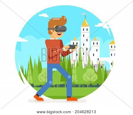 VR Virtual Reality Glasses Young Man Playing Game Cartoon Character Flat Design Visual 3d Digital Experience Vector Illustration