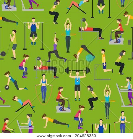 Cartoon People Workout Exercise in Gym Background Pattern on a Green Body Training Flat Design Style. Vector illustration