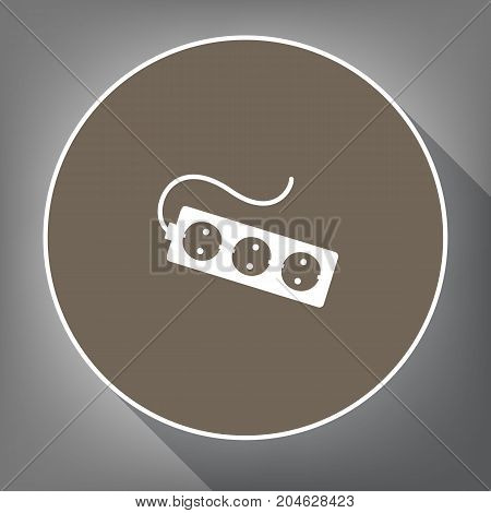 Electric extension plug sign. Vector. White icon on brown circle with white contour and long shadow at gray background. Like top view on postament.