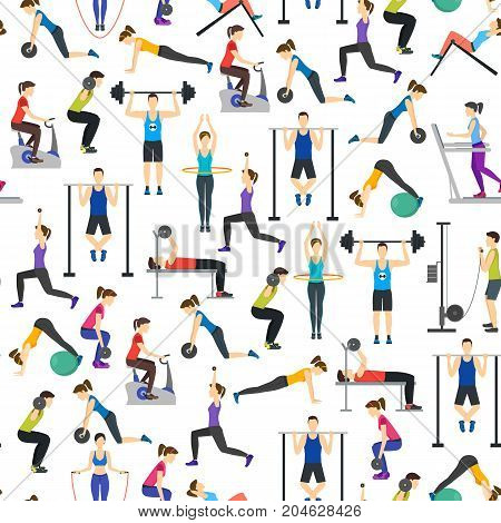 Cartoon People Workout Exercise in Gym Background Pattern on a White Body Training Flat Design Style. Vector illustration
