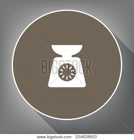 Kitchen scales sign. Vector. White icon on brown circle with white contour and long shadow at gray background. Like top view on postament.