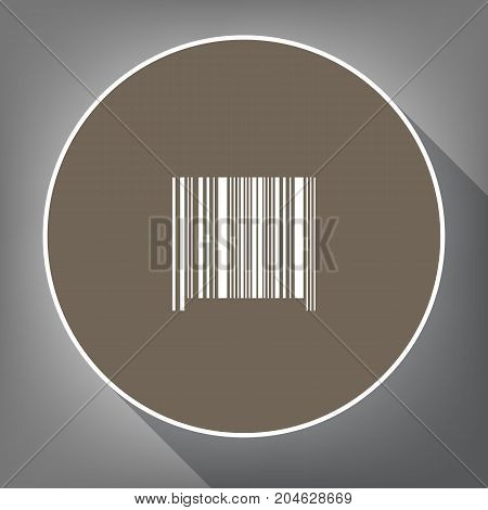 Bar code sign. Vector. White icon on brown circle with white contour and long shadow at gray background. Like top view on postament.