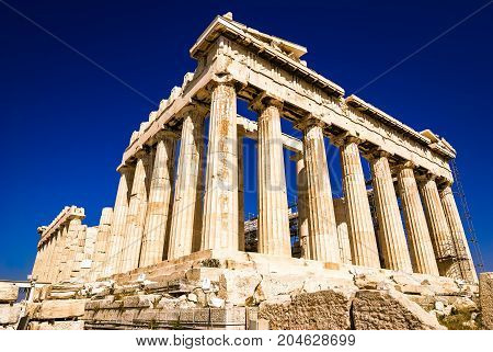 The Parthenon on the Athenian Acropolis Hill, Greece