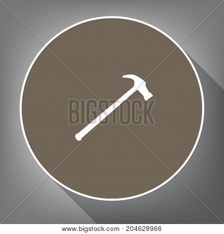 Saw simple Icon. Vector. White icon on brown circle with white contour and long shadow at gray background. Like top view on postament.