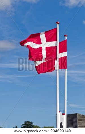 Two flags of Denmark moving from wind with blue sky and clear clouds.