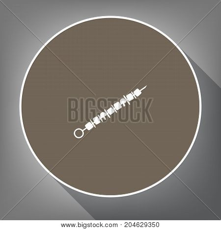 Shish kebab on skewers sign. Vector. White icon on brown circle with white contour and long shadow at gray background. Like top view on postament.