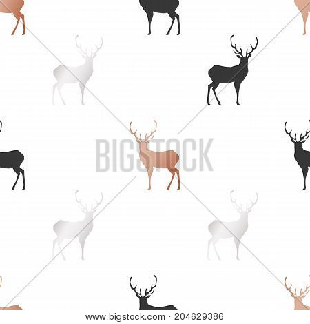 White Christmas and New Year's wrapping paper with deers of gold and bronze foil. Seamless vector pattern.