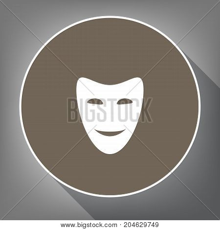 Comedy theatrical masks. Vector. White icon on brown circle with white contour and long shadow at gray background. Like top view on postament.