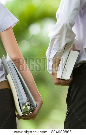 Student Meeting in a park - Stock Image