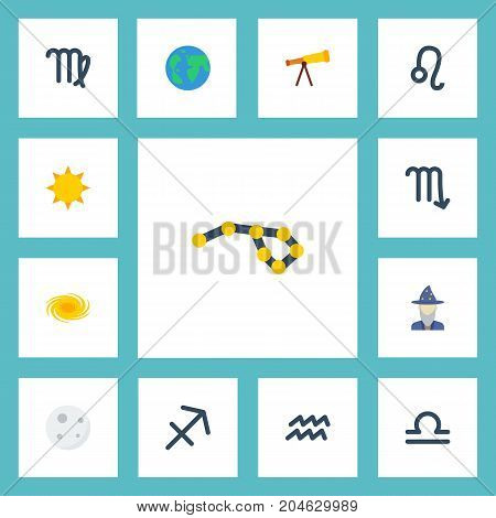 Flat Icons Water Bearer, Earth Planet, Augur And Other Vector Elements