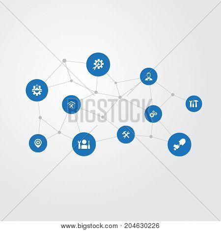 Elements Equipments, Pin, Craftsman And Other Synonyms Mending, Wheel And Foreman.  Vector Illustration Set Of Simple  Icons.