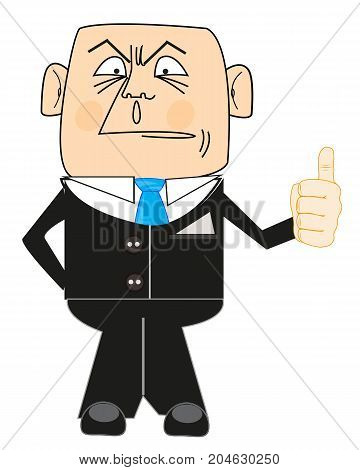 Cartoon of the person in suit and tie on white background