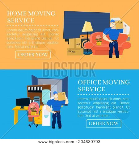 Moving service guy with furniture and moving truck vector illustration with copy space EPS10