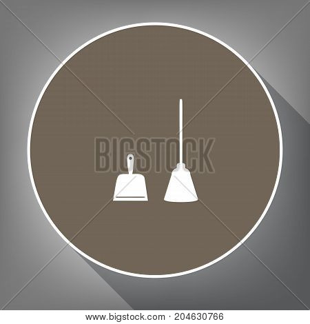 Dustpan vector sign. Scoop for cleaning garbage housework dustpan equipment. Vector. White icon on brown circle with white contour and long shadow at gray background. Like top view on postament.