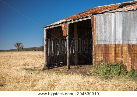 Abandoned Outback Farming Shed In The Country