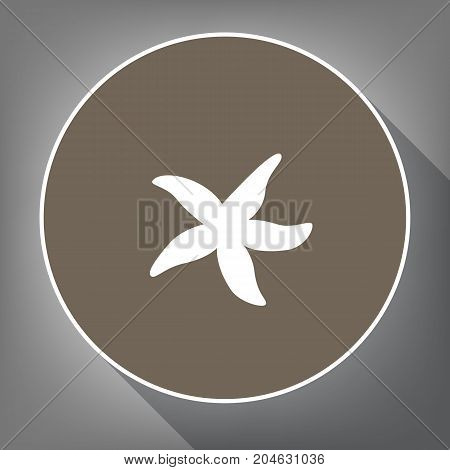Sea star sign. Vector. White icon on brown circle with white contour and long shadow at gray background. Like top view on postament.