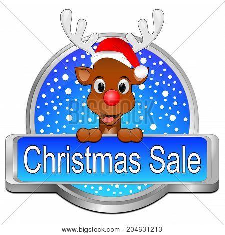decorative blue Christmas Sale button - 3D illustration